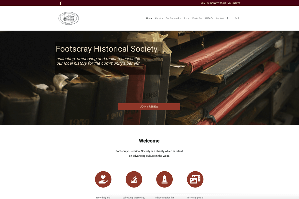 Client Footscray Historical Society website - Design Grid