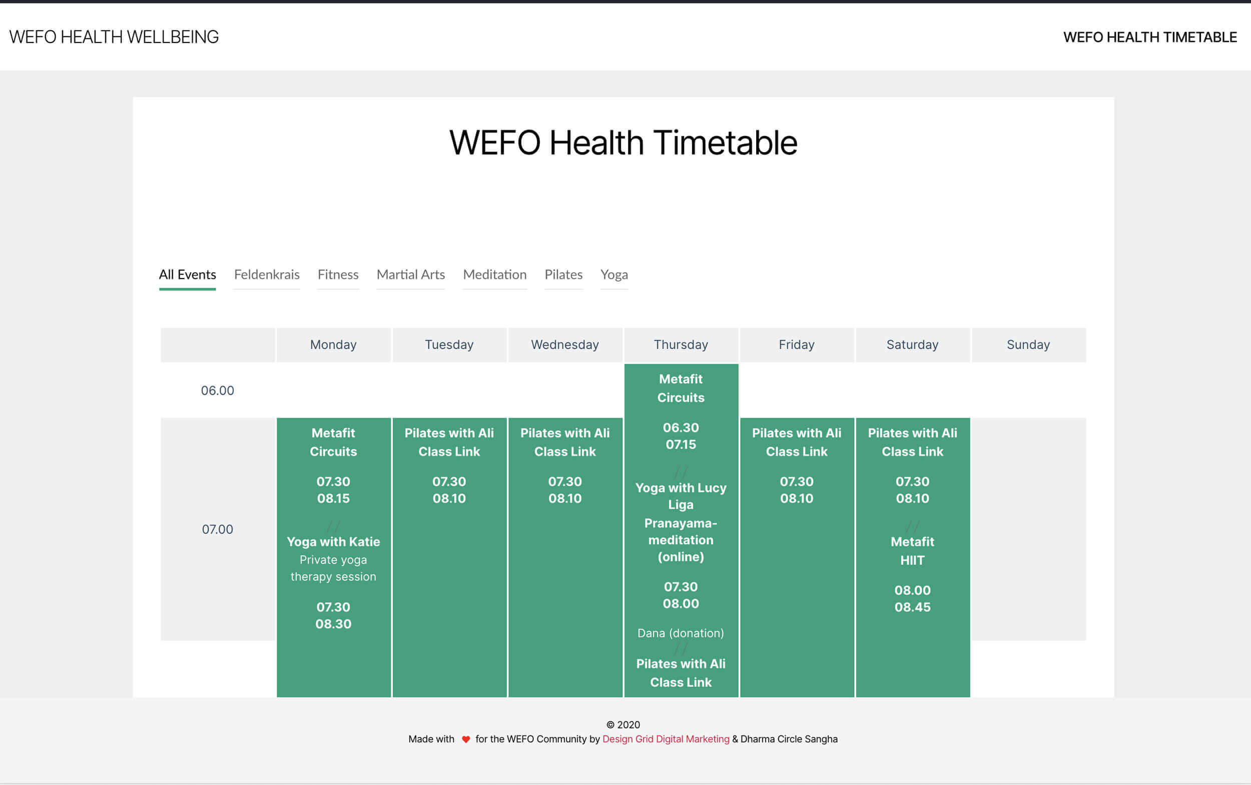 West Footscray Health & Wellbeing Timetable